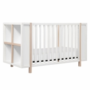 Babyletto Bingo 3-in-1 Convertible Crib and Storage Combo in White and Washed Natural