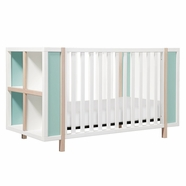 Babyletto Bingo 3-in-1 Convertible Crib and Storage Combo in White and Washed Natural with Cool Mint