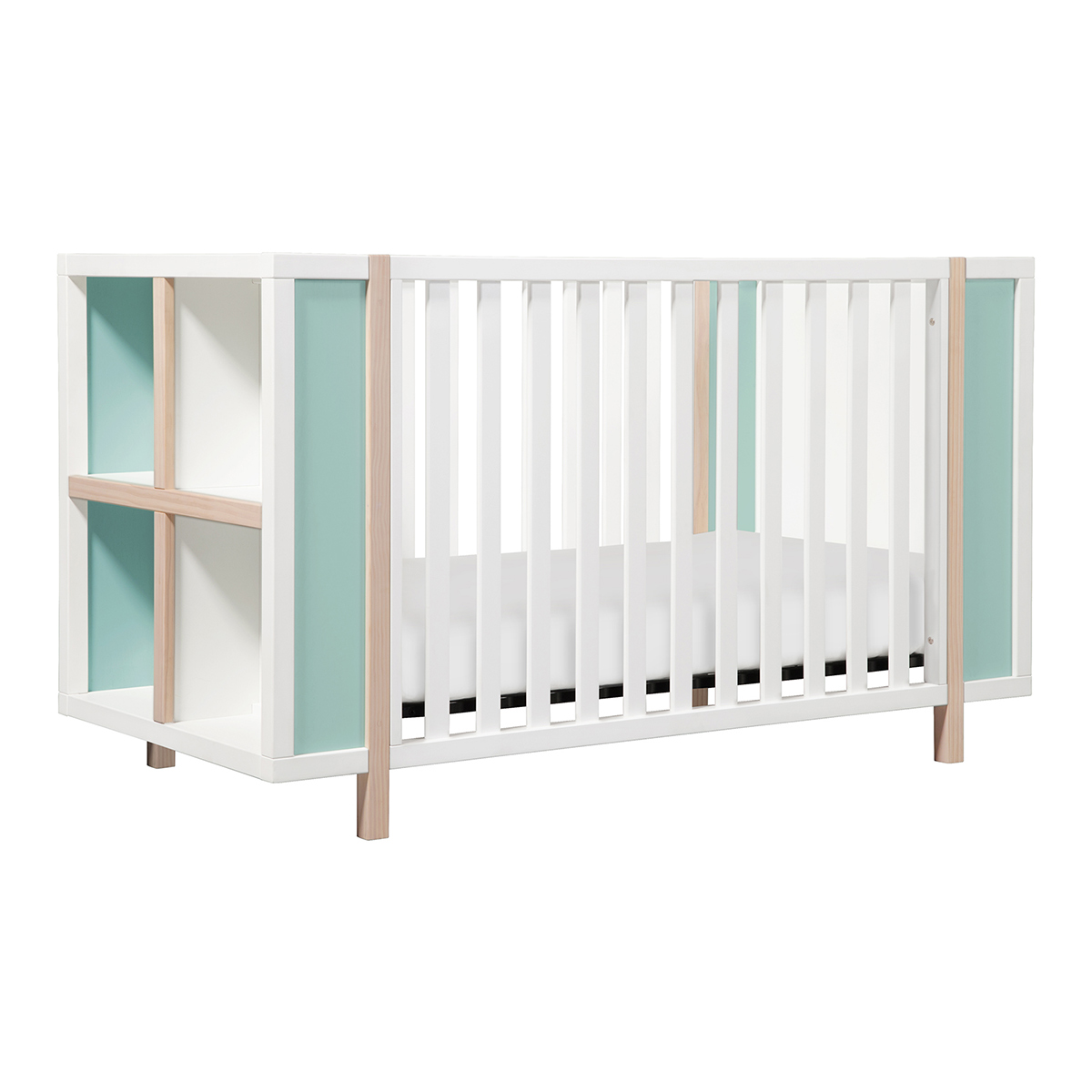 babyletto bingo in convertible crib and storage combo in white  - babyletto bingo in convertible crib and storage combo in white andwashed natural with cool mint free shipping