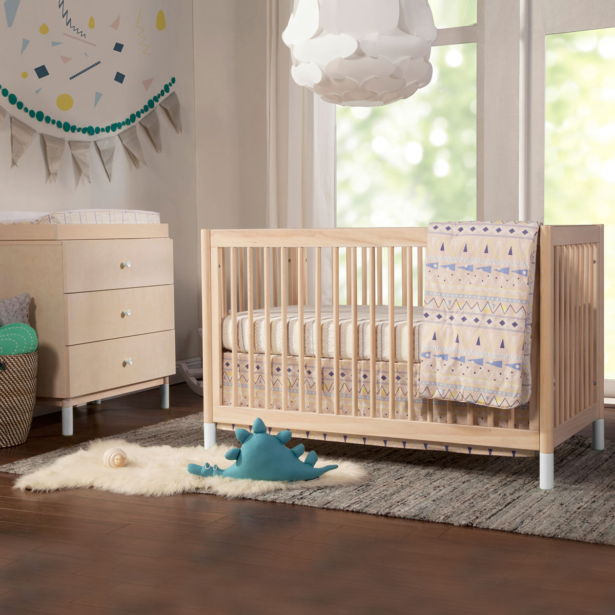 Babyletto gelato 2 piece nursery set 4 in 1 convertible crib and 3 drawer changer dresser in washed natural free shipping