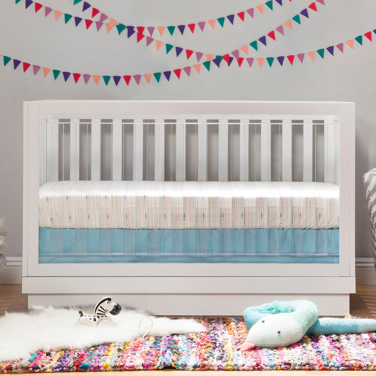 babyletto harlow in convertible crib in white finish white  - babyletto harlow in convertible crib in white finish white base andacrylic slats in whitewhiteacrylic free shipping