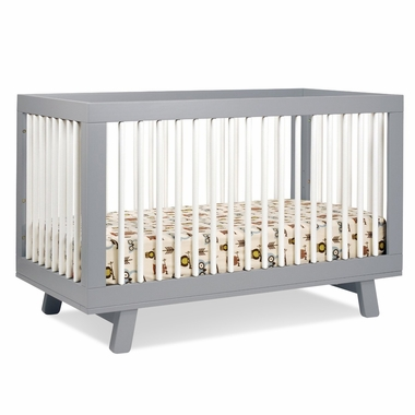 Babyletto Hudson 3-in-1 Convertible Crib with Toddler Bed Conversion in Grey/White - Click to enlarge