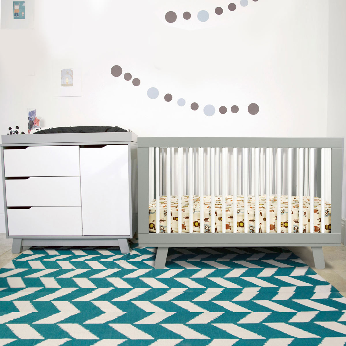 Babyletto hudson 2 piece nursery set 3 in 1 convertible crib and changer dresser in grey white