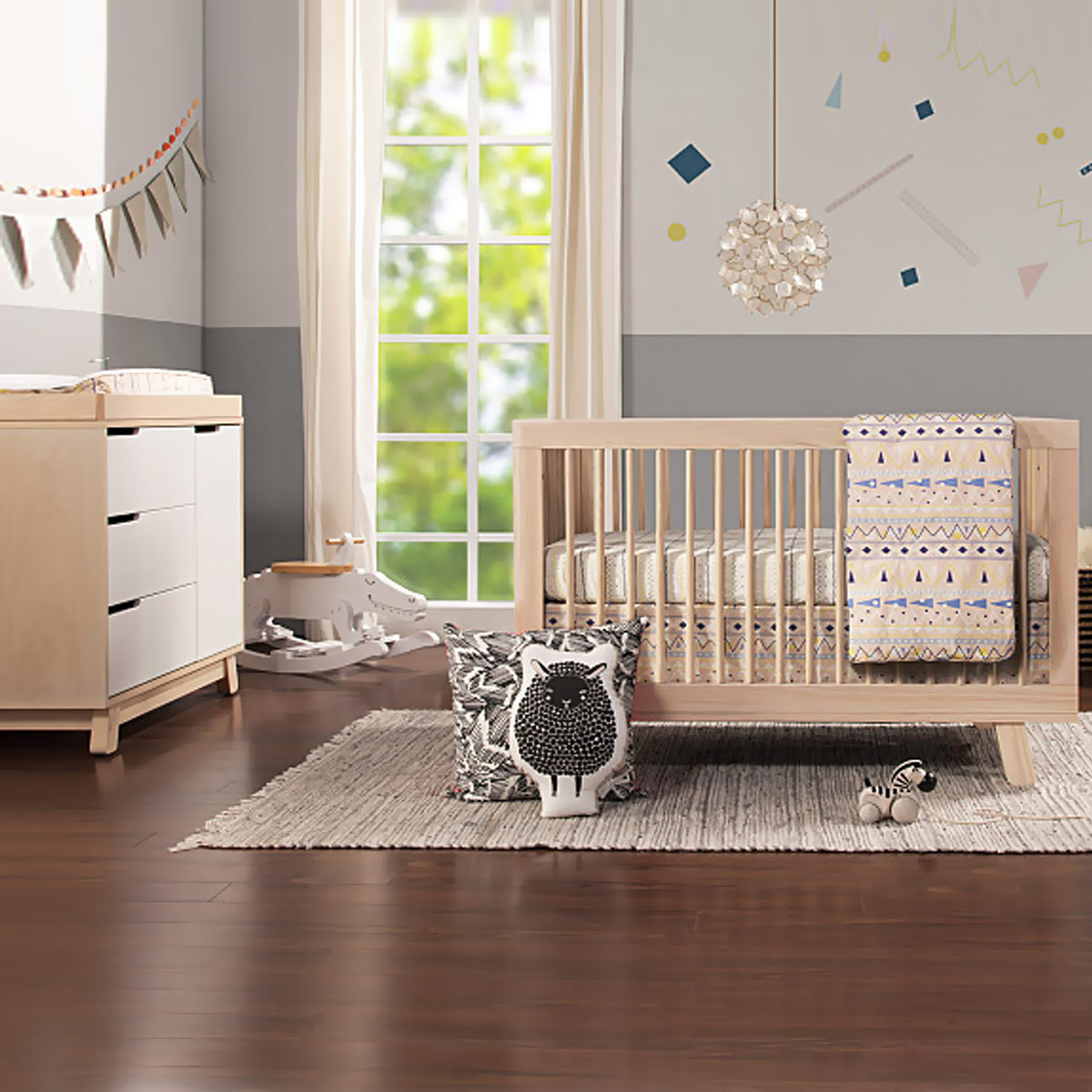 Babyletto hudson 2 piece nursery set 3 in 1 convertible crib and changer dresser in washed natural free shipping