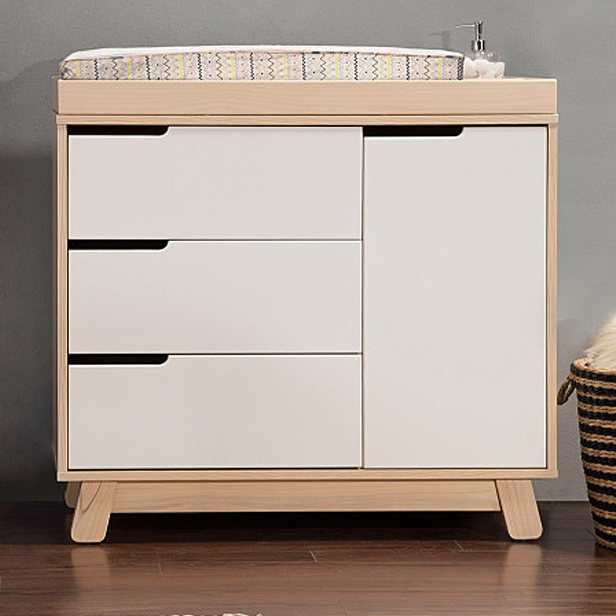 Babyletto Hudson 3 Drawer Changer Dresser W/ Removable Changing Tray In  Washed Natural/White FREE SHIPPING