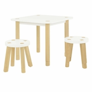 Babyletto Kaleidoscope Table & 2 Stools in White and Natural