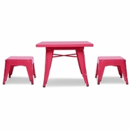 Babyletto Lemonade Table & 2 Stools in Flamingo