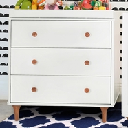 Babyletto Lolly 3 Drawer Dresser Changer w/ Removable Changing Tray in White/Natural