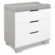 Babyletto Modo 3 Drawer Dresser Changer w/ Removable Changing Tray in Grey/White