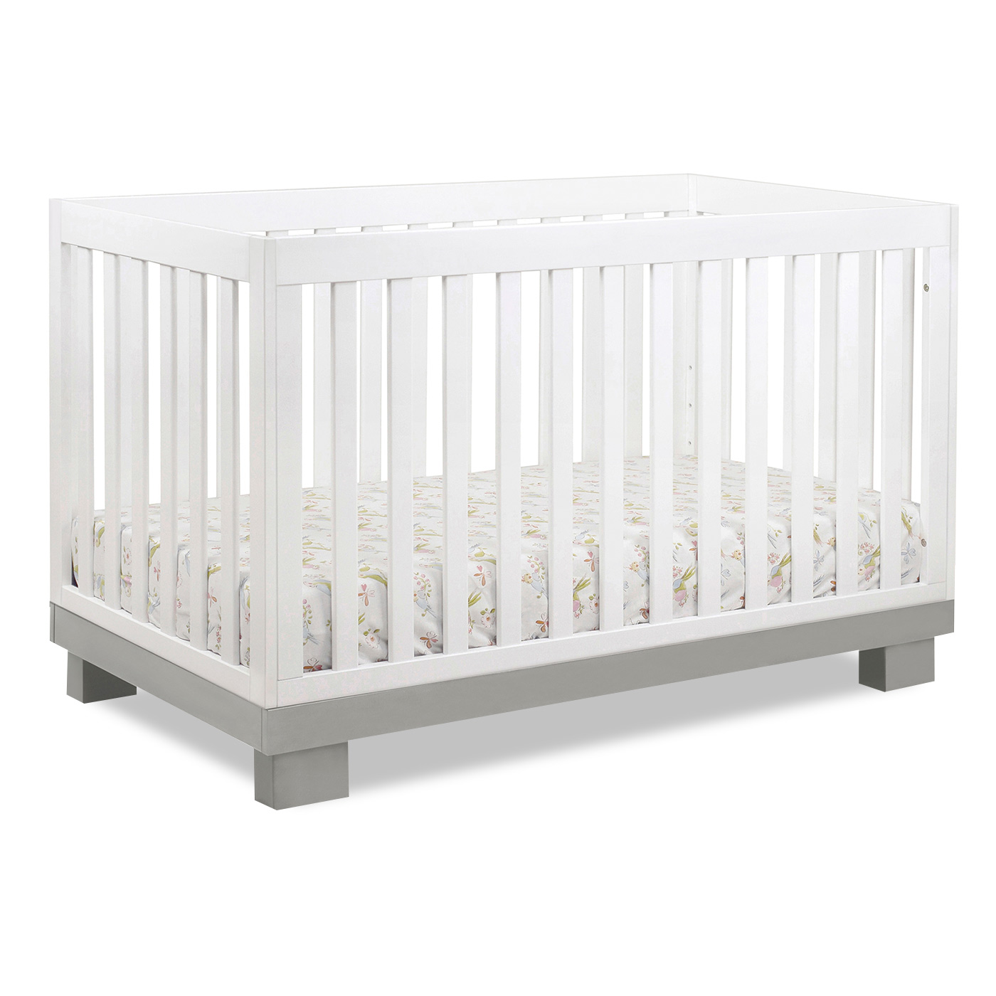 Babyletto 2 piece nursery set modo 3 in 1 convertible crib and dresser changer in grey white free shipping