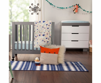 Babyletto Origami Mini Crib and Hudson Changer in Grey