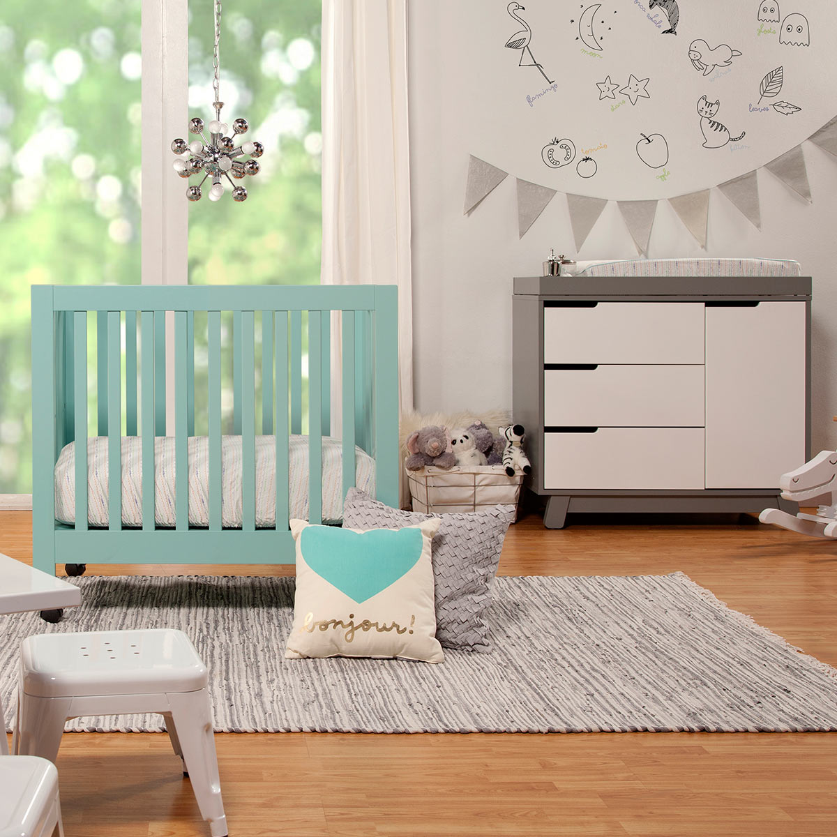 Babyletto 2 piece nursery set origami mini crib and hudson changer in lagoon free shipping