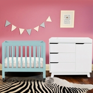 Babyletto Origami Mini Crib and Hudson Changer in Lagoon