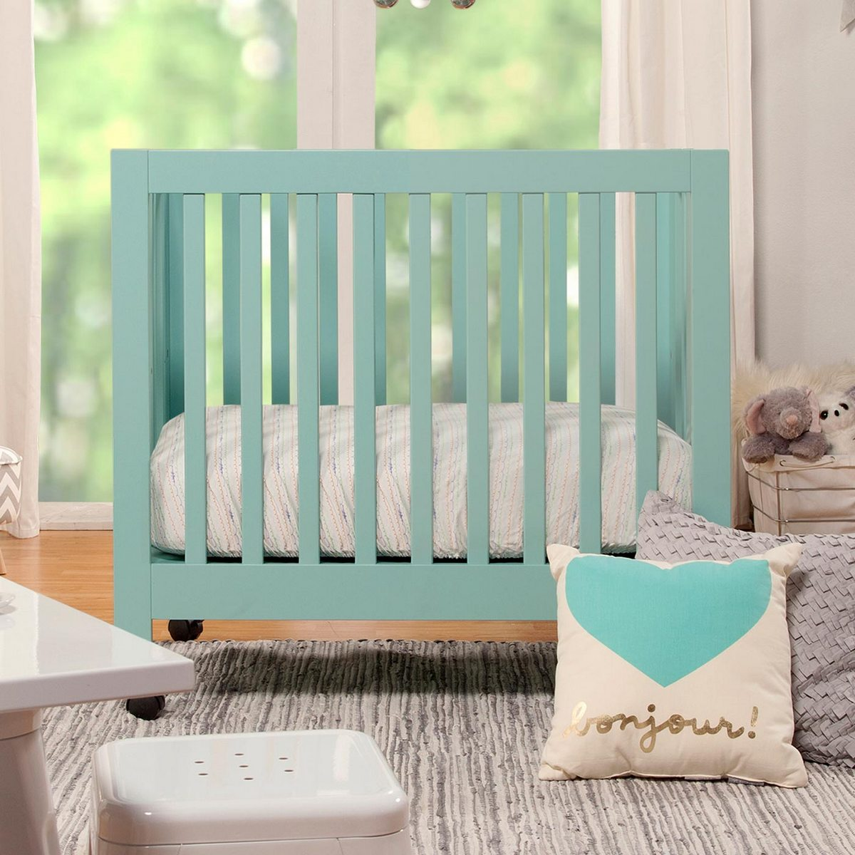 babyletto origami mini crib in lagoon free shipping   -