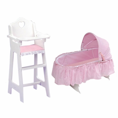 Badger Basket Doll High Chair 2 Folding Cradle In Gingham With