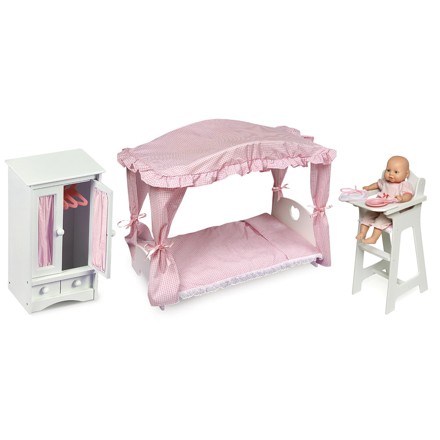 badger basket 3 piece canopy doll bed doll armoire and high