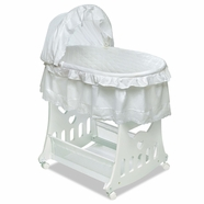 Badger Basket Batiste Portable Bassinet & Cradle with Toybox Base in White