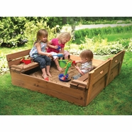 Badger Basket Covered Convertible Cedar Sandbox w Two Bench Seats