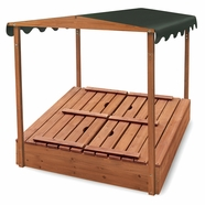 Badger Basket Covered Convertible Cedar Sandbox with Canopy & Two Bench Seats