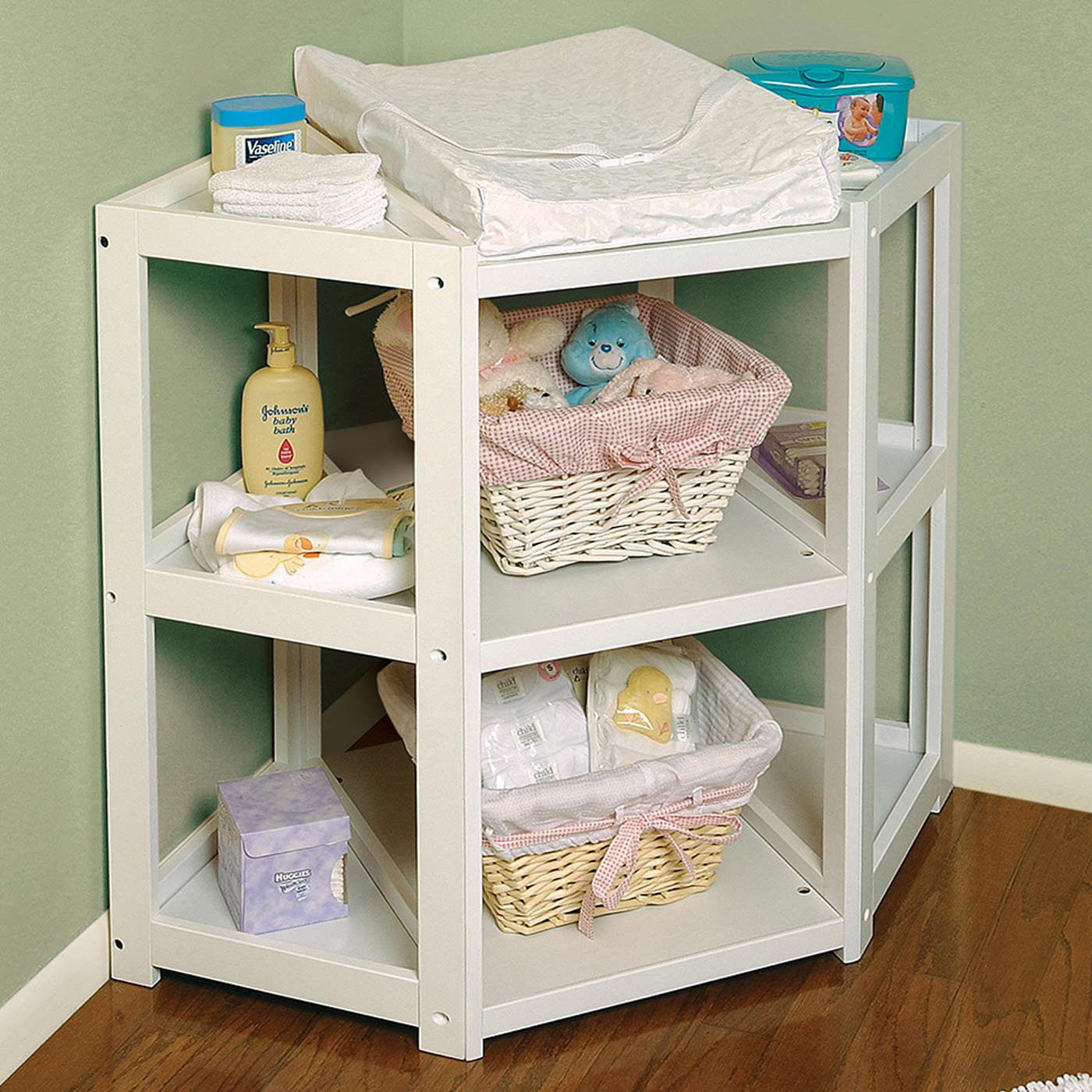 badger basket diaper corner changing table  white  free shipping -