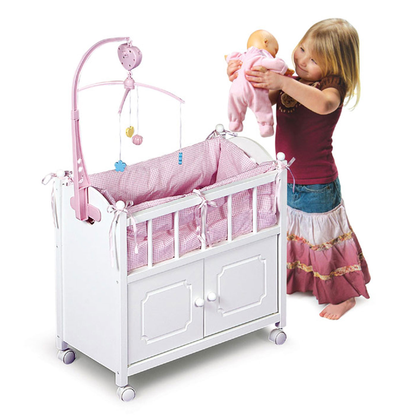 Badger Basket Doll Crib Bed w/Cabinet, Mobile, and Bedding FREE ...