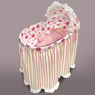 Badger Basket Embrace Bassinet with Stripe and Flower Bedding Set