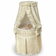 Badger Basket Empress Round Baby Bassinet in Ecru and Leaf Print