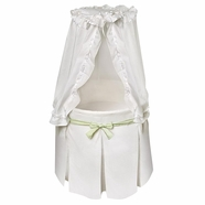 Badger Basket Empress Round Baby Bassinet in White with Gingham Belts