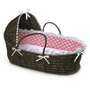 Badger Basket Espresso Moses Basket with Hood and Pink Polka Dot Bedding