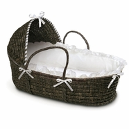 Badger Basket Espresso Moses Basket with Hood and White Bedding