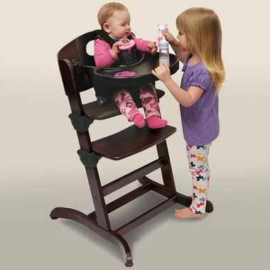 Badger Basket Evolve Convertible Wood High Chair with Tray and Cushion in Espresso - Click to & Badger Basket Evolve Convertible Wood High Chair with Tray and ...