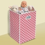 Badger Basket Folding Hamper/Storage Bin in Pink with White Polka Dots