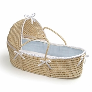 Badger Basket Hooded Moses Basket with Blue Waffle Bedding