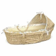 Badger Basket Hooded Moses Basket with Ecru/Beige Gingham Bedding