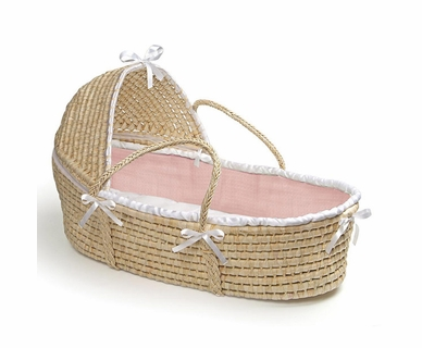 Badger Basket Hooded Moses Basket with Pink Waffle Bedding