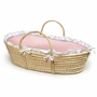 Badger Basket Natural Moses Basket Pink Gingham Bedding