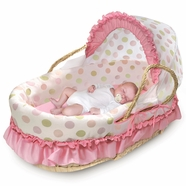 Badger Basket Natural Moses Basket with Fabric Canopy in Pink and Sage Dot