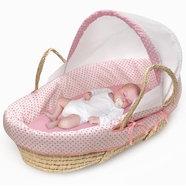 Badger Basket Natural Moses Basket with Fabric Canopy in Pink Polka Dot