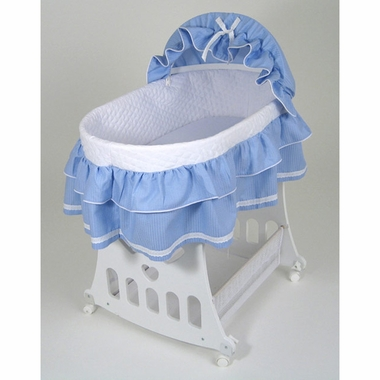 Badger Basket Portable Bassinet U0027N Cradle W/Base   Blue Waffle Ruffled    Click