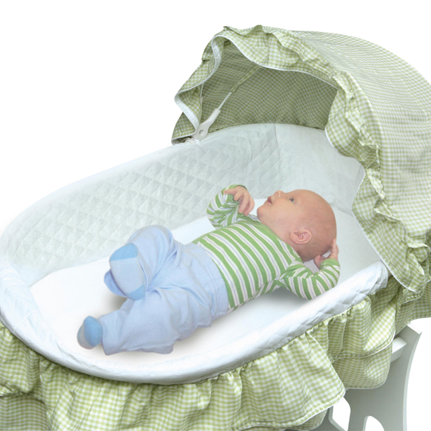 Badger Basket Portable Bassinet U0027N Cradle With Toybox Base With Sage  Gingham Half Skirt FREE SHIPPING