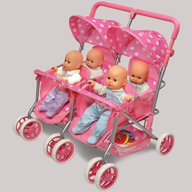 Badger Basket Quad Deluxe Doll Stroller in Pink with Polka Dots