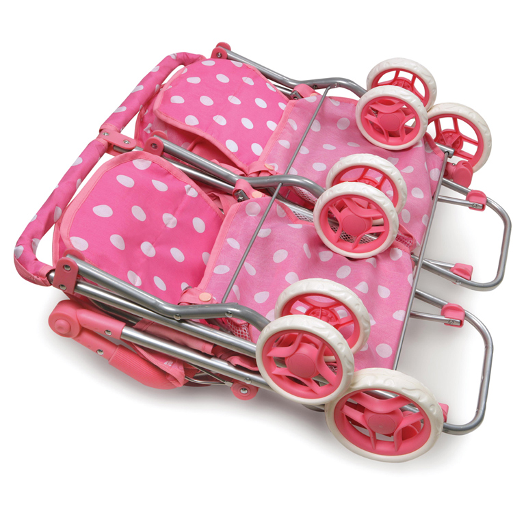 Badger Basket Quad Deluxe Doll Stroller in Pink with Polka Dots ...