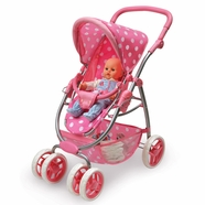 Badger Basket Six Wheel Doll Travel System Stroller and Carrier in Pink Polka dots