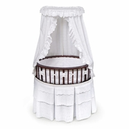 Badger Basket The Elite Oval Cherry Baby Bassinet with White Eyelet Bedding
