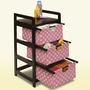 Badger Basket Three Drawer Hamper/Storage Unit with Canvas Drawers in Espresso with Pink Polka Dots