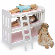 Badger Basket Triple Doll Bunk Bed with Ladder and Pink Gingham Mats in White