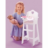 Badger Basket White Doll High Chair, Pink Gingham, Plate/Bib/Spoon