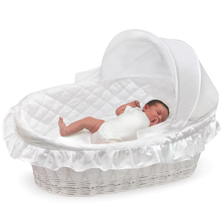 ... Charming Badger Basket Portable Bassinet #21   Badger Basket White  Wicker Moses Basket With Hood ...