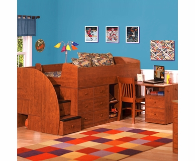 Berg Furniture Sierra Captain's Twin Bed with Pull-out Desk & Stairs