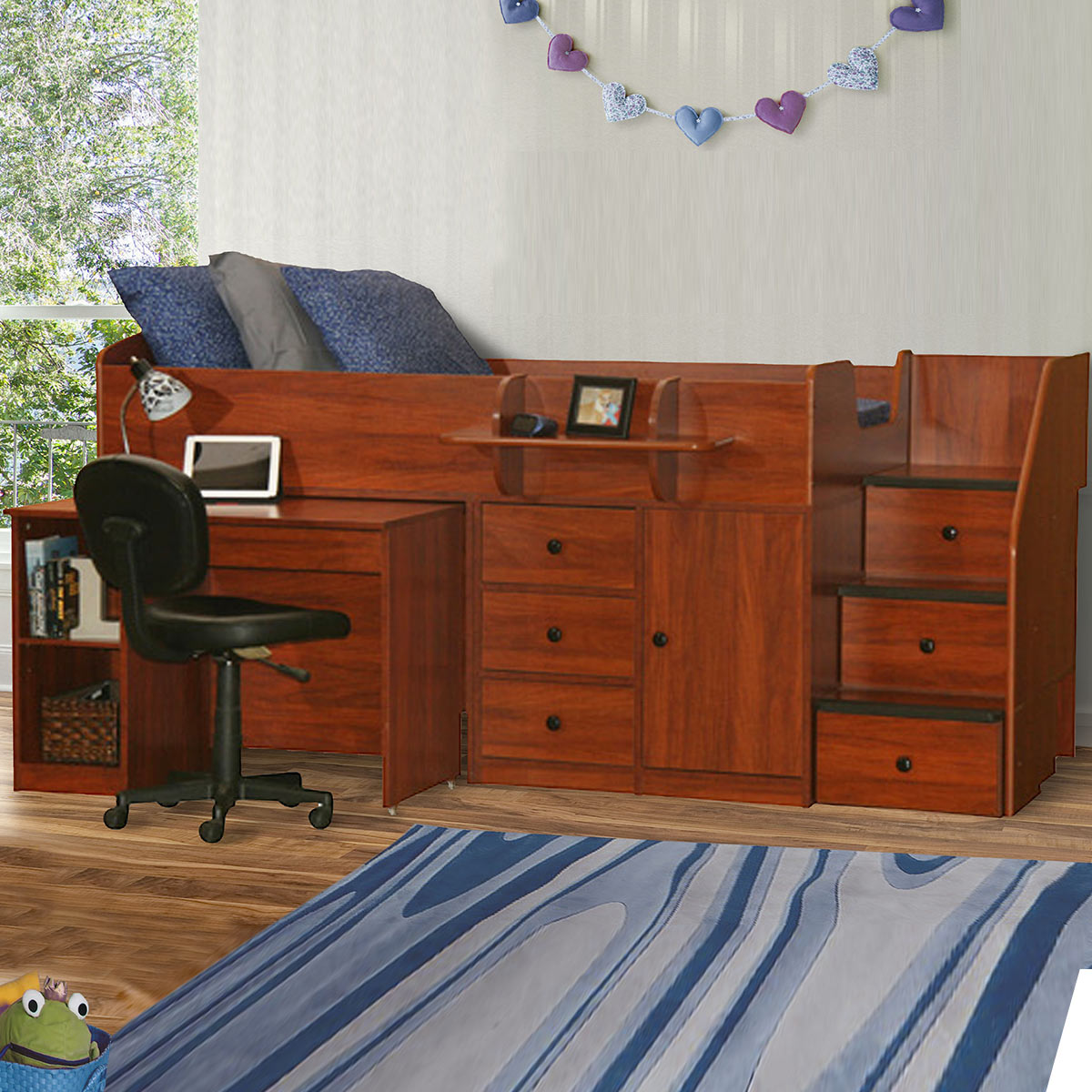 Berg Furniture Sierra Captain S Twin Bed With Pull Out Desk Stairs Free Shipping
